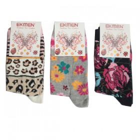 Ekmen Desenli Likrali Bayan Soket Çorap
